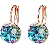 Multicolored Swarovski Crystal Earrings for Women 14K Gold Plated Leverback Dangle Hoop Earrings