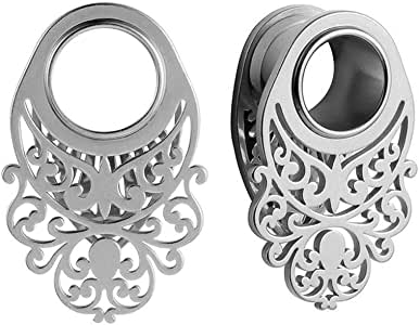 0g-1 Casvort 2 PCS New Stainless Steel Rose Gold Saddle Weights Ear Tunnel Plug Piercing Ear Gauges Stretchers Body Jewelry