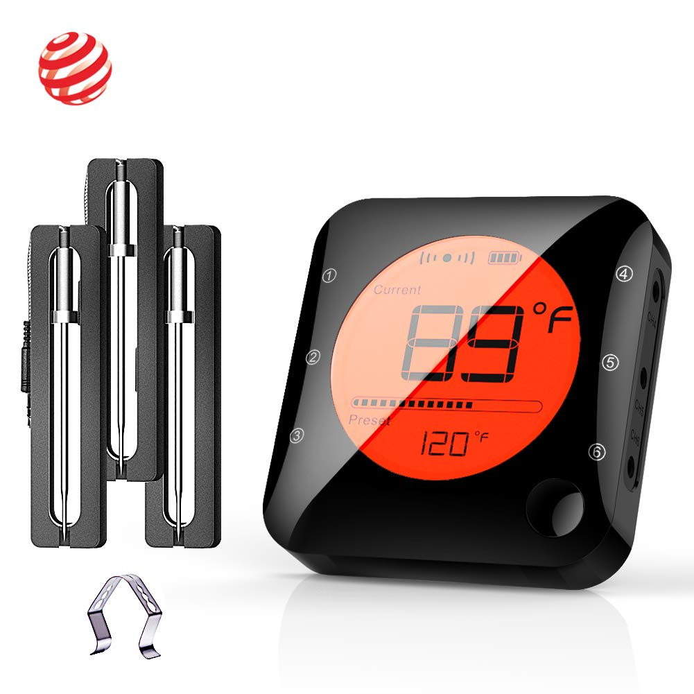 BFOUR Wireless Bluetooth Meat Thermometer for Grilling, Premium Digital Instant Read Meat Thermometer with 3 Probes Food Thermometer Timer Alarm for Smoker, Grill, Oven, Kitchen, Cooking, BBQ