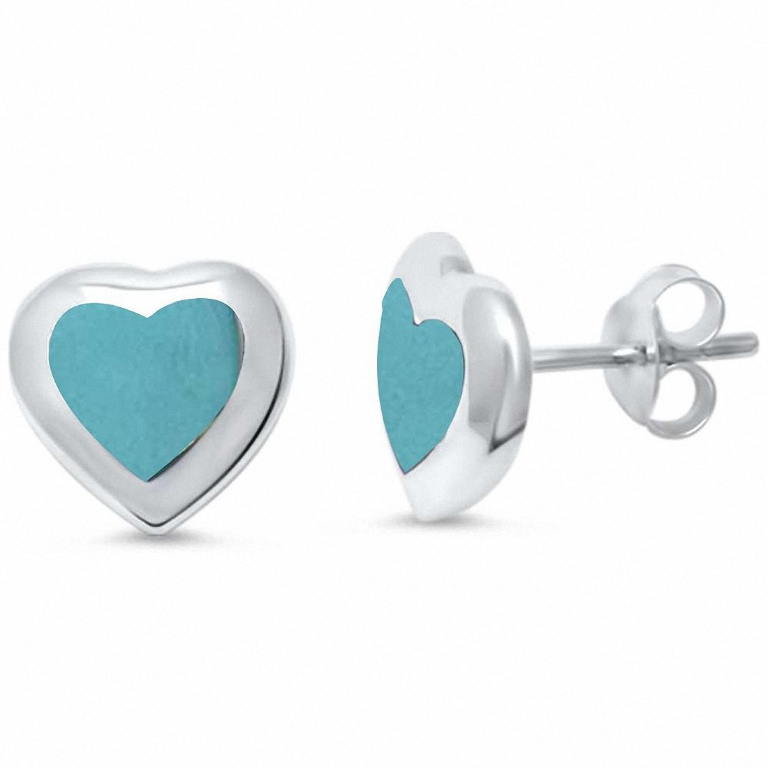 1241a3aae Amazon.com: Heart Stud Earrings Simulated Abalone 925 Sterling Silver:  Jewelry