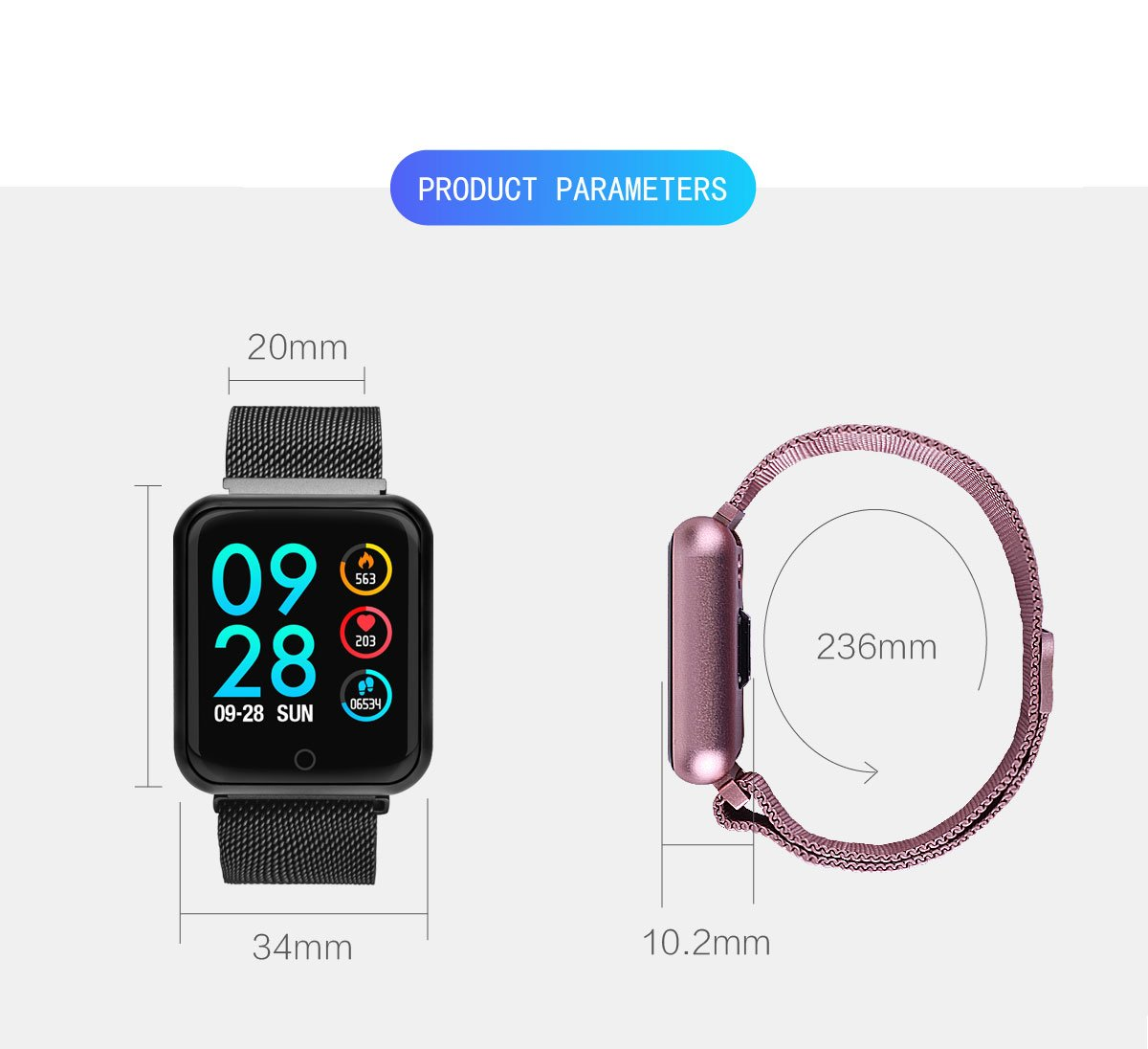 KingTo Activity Tracker Watch Waterproof with Heart Rate Monitor and Blood Pressure Monitor Fitness Tracker Watch Women and Men for Android and iOS Smartphone by KingTo (Image #7)