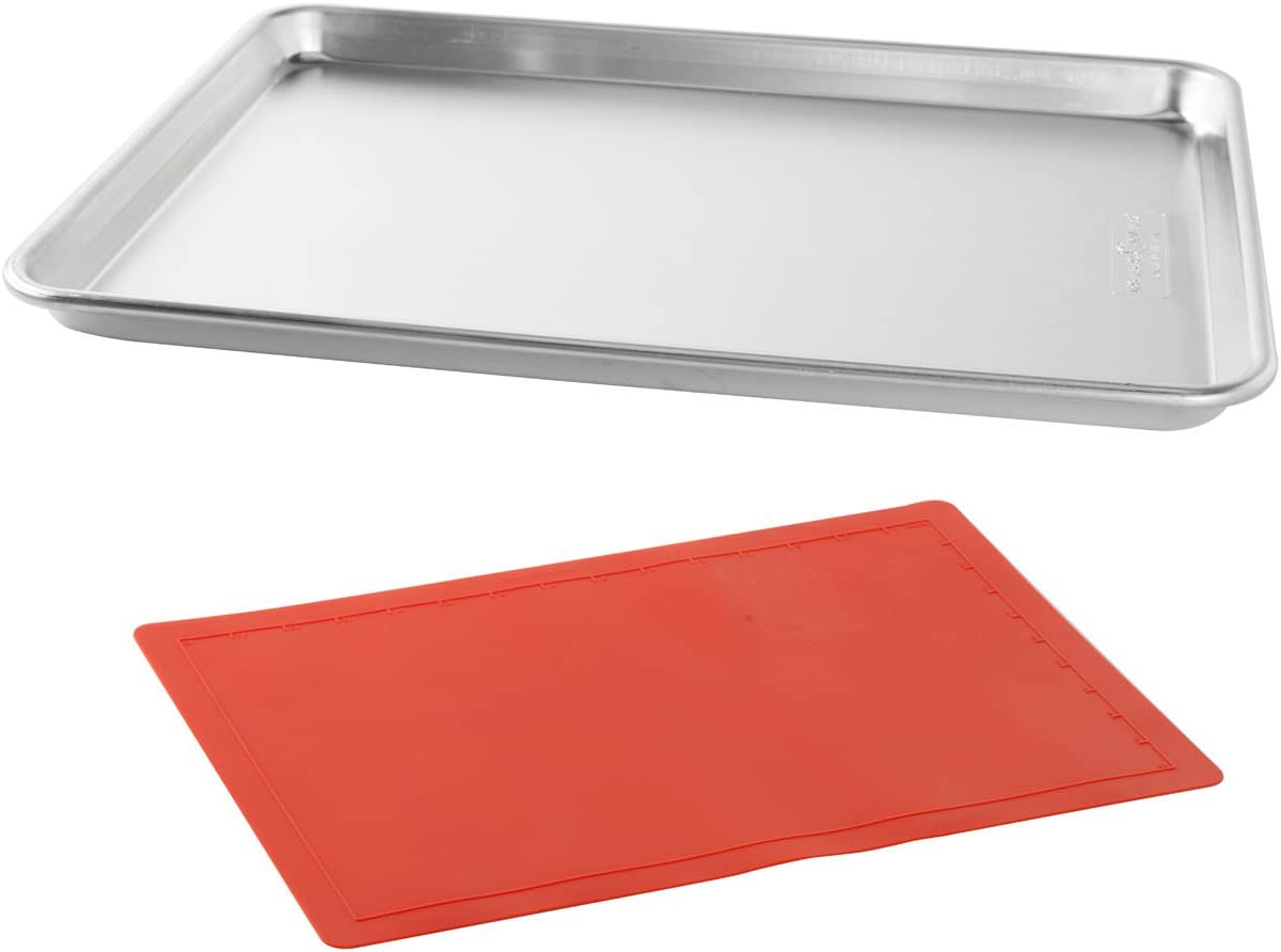 Nordic Ware Natural Aluminum Commercial Baker's Half Sheet and Nonstick 12- by 17-Inch Silicone Baking Mat
