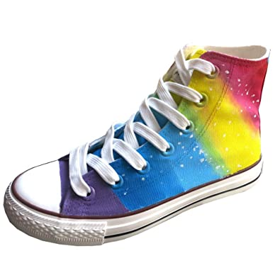 75c0793cb494c9 YFINE Gradient Rainbow Adult High Top Hand-painted Unisex Canvas Shoes Mens  and Womens Walking