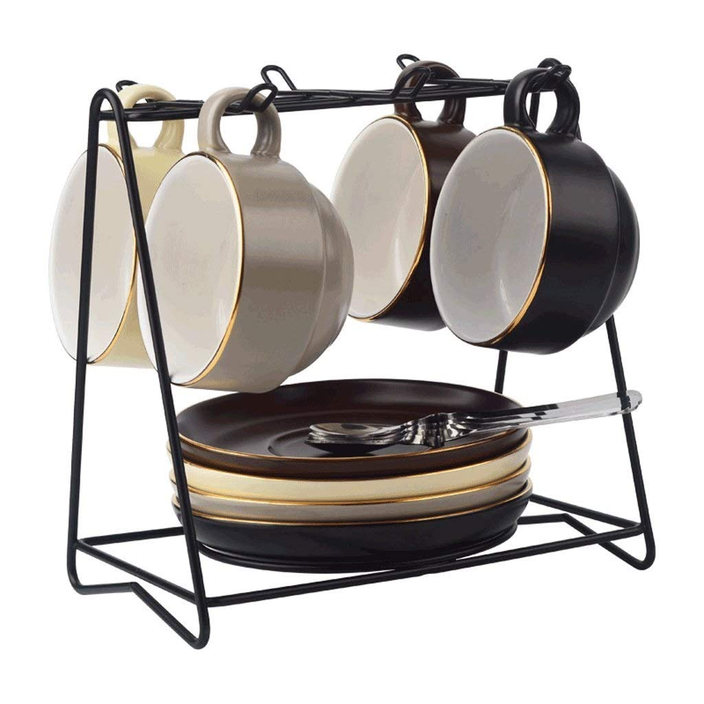 ヨーロッパの骨中国サービスコーヒーセット用金属ホルダー、花茶セット、家庭用 B07S9D4H4K