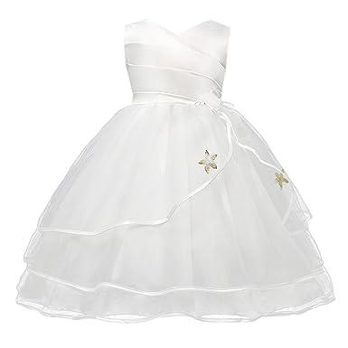 Happy Cherry - Vestido Verano Falda Floral para Bebés Niñas con Encaje Lazo Mangas Cortos Vestido