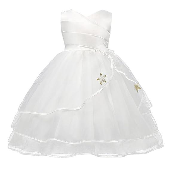 Happy Cherry - Vestido Verano Falda Floral para Bebés Niñas con Encaje Lazo Mangas Cortos Vestido para Boda Fiesta Falda Princesa - Blanco Amarillo Rojo ...