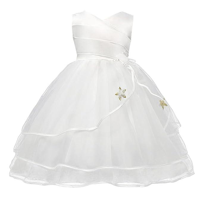 Happy Cherry - Vestidos de Fiesta para Bodas de Niñas Falda Princesa de Tul Encaje Vestido