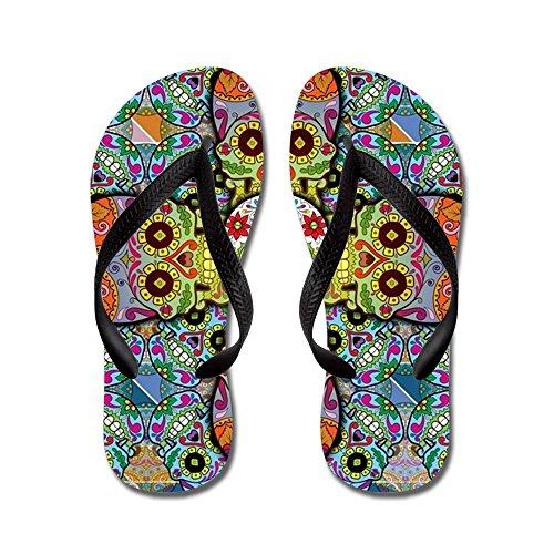 CafePress Sugar Skulls - Flip Flops, Funny Thong Sandals, Beach Sandals