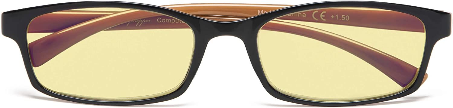 Eyeglasses with Yellow Tinted Lens Blue Light and Glare Blocking Computer Glasses