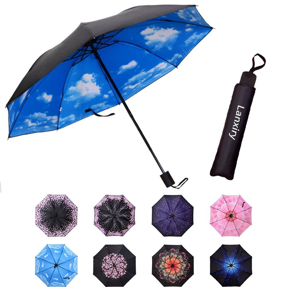Compact Travel Umbrella,Windproof Waterproof Stick Umbrella Anti-UV Protection Golf Umbrellas (High clouds)
