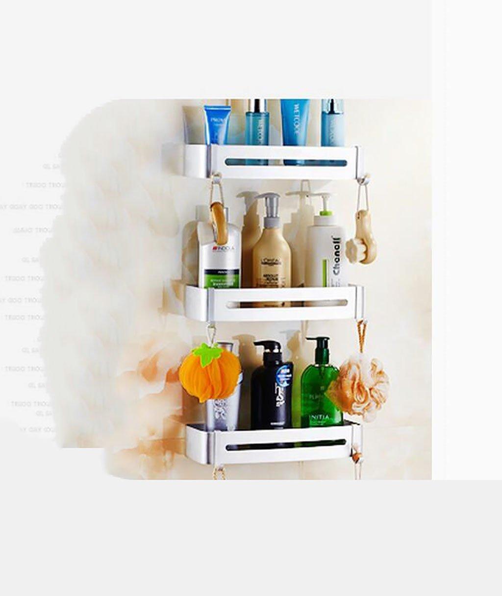 YAOHAOHAO Bathroom shelving bath rooms, rack, aluminum ADB support. single wall-layer bath rooms shower Rack Rack (Color (a)