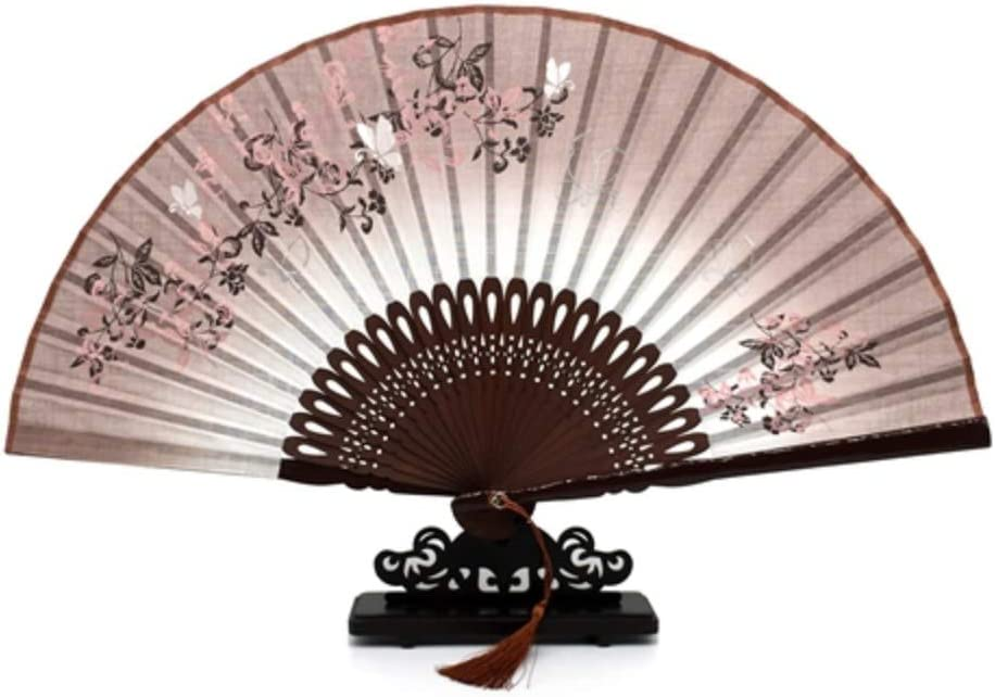 LXRLYN Ventilador Plegable, 1Pcs Flor de bambú de Lino Boda marrón ...