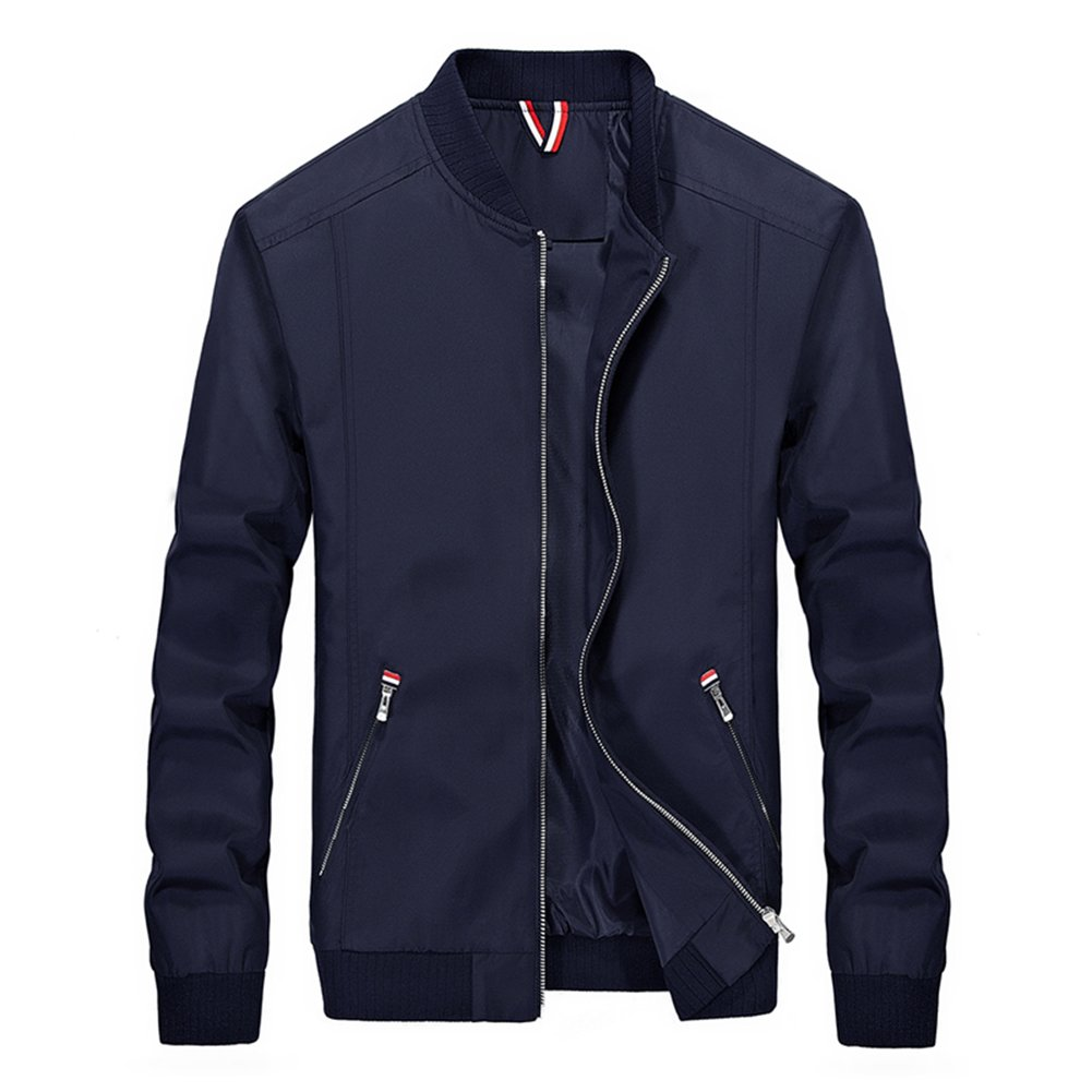 Womleys Mens Casual Lightweight Windbreaker Bomber Jacket Coat Outerwear (Asian 3XL (US Large), Navy Blue) by Womleys