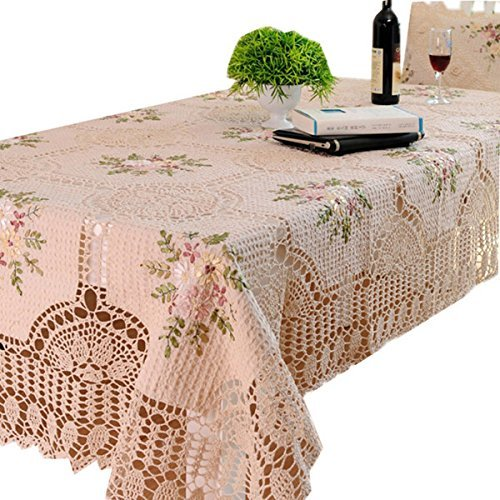 Ustide Rustic Handmade Tablecloths Crochet Ribbon Stitch Dining Table Cloth Embroidery Floral Design Tea Table Cloth Vintage Beige Table Covers