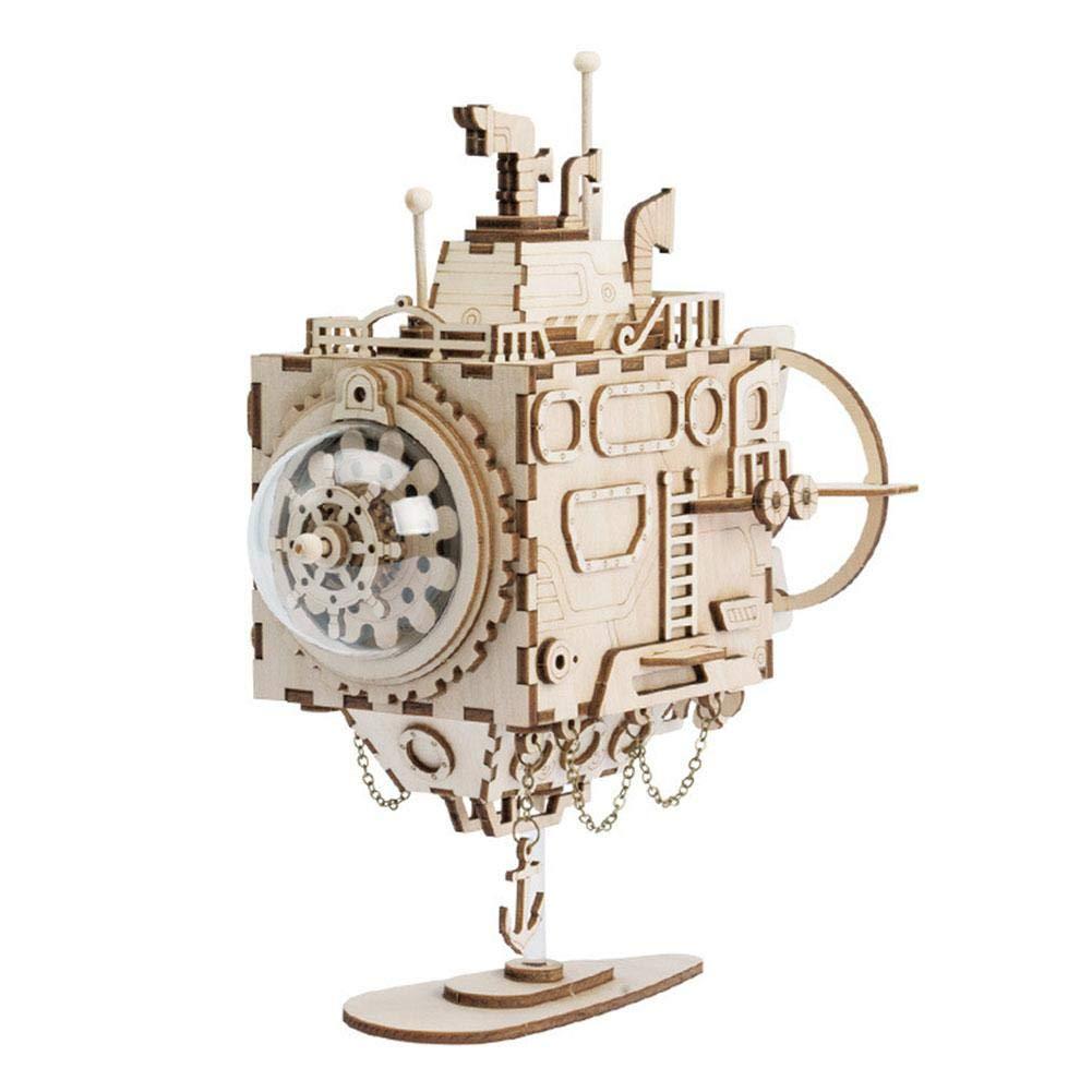 3Dパズルオルゴール 子供用 木製オルゴール 子供用 Submarine DIYメカニズムおもちゃ 男の子用 子供 誕生日プレゼント 男の子用 Submarine B07KWWKYJW, 五番街バッグ財布のお店:5fe12dc5 --- itxassou.fr
