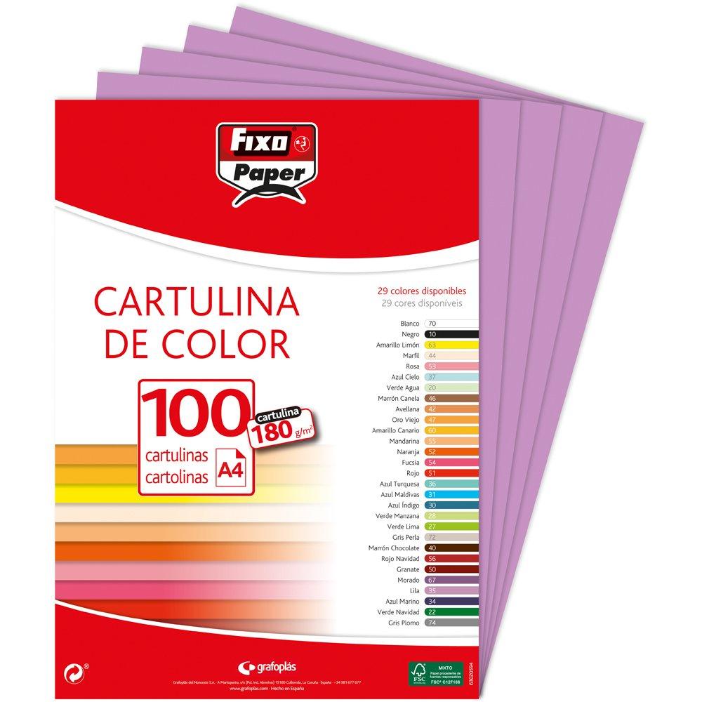 Fixo Paper 11100570 – Paquete de 125 cartulinas 50x65 – Cartulina grande blanca– 180g
