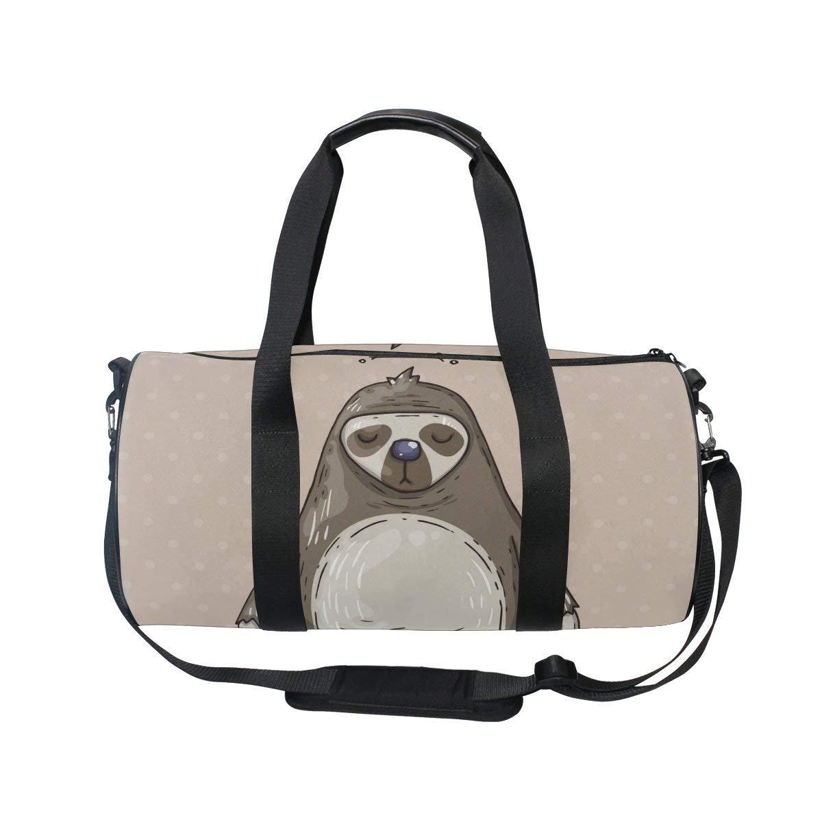 OuLian Women Gym Bag Funny Sloth Sitting Mens Camp Duffel Bags Duffle Luggage Travel Bag