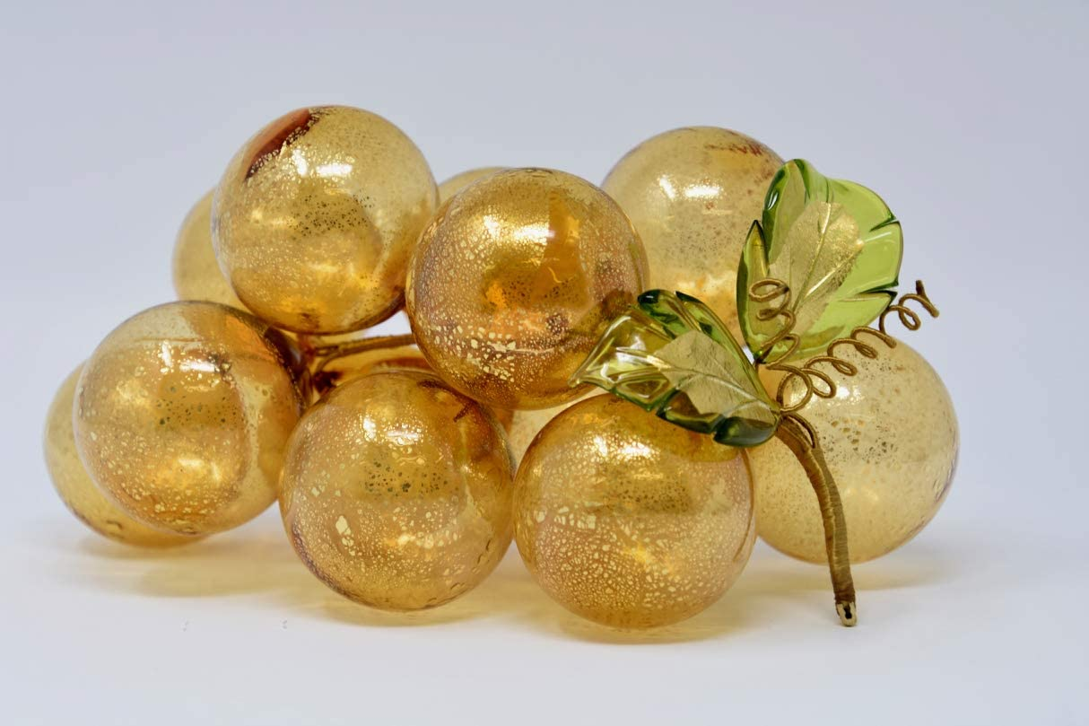 Large Blown Amber Grapes, Murano Glass Decor - Hand Made in Italy