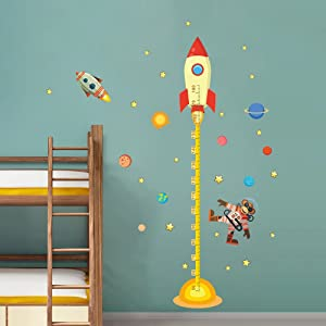 decalmile Space Planets Rocket Height Chart Stickers Kids Room Wall Decor Removable Measurement Wall Decals for Kids Bedroom Nursery Baby Room Classroom