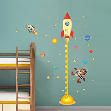 Amazon Com Decalmile Space Planets Rocket Height Chart Stickers Kids Room Wall Decor Removable Measurement Wall Decals For Kids Bedroom Nursery Baby Room Classroom Kitchen Dining