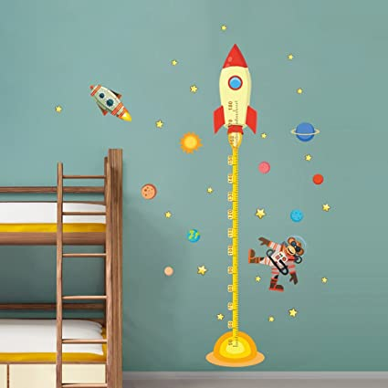 Amazon.com: decalmile Space Planets Rocket Height Chart Stickers ...