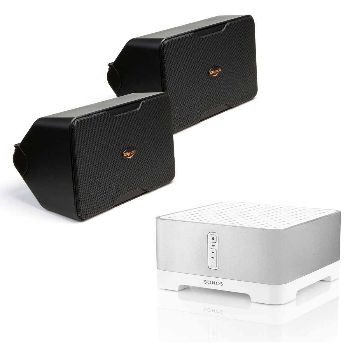 Sonos CONNECT:AMP Wireless Hi-Fi Player with Klipsch CP-6 Compact Performance Series Outdoor Loudspeakers - Pair (Black)