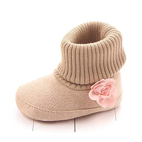 JINGJING Baby Girls Flower Fleece Non-Skid Booties Newborn Infant Soft Knit Winter Warm Crib