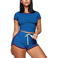 ThusFar Women's Casual Two Piece Outfits Stripe Drawstring Sport Bodycon T Shirt Crop Tops Shorts Tracksuit Pajama Set
