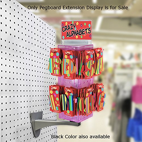 New Retails Black Pegboard Extension Display 4''W x 4''D x 12''H by Pegboard Extension Display