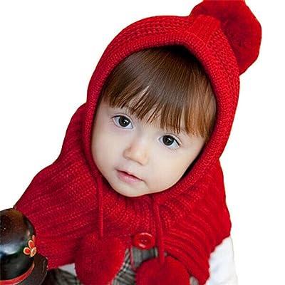 Tuscom Winter Baby Kids Girls Boys Warm Woolen Coif Hood Scarf Caps Hats