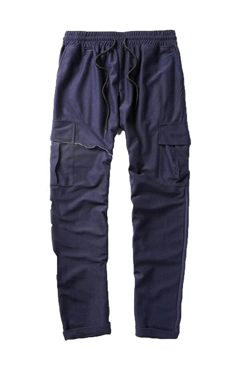 KLJR Mens Casual Solid Multi-pocket Cargo Sweatpants Trousers