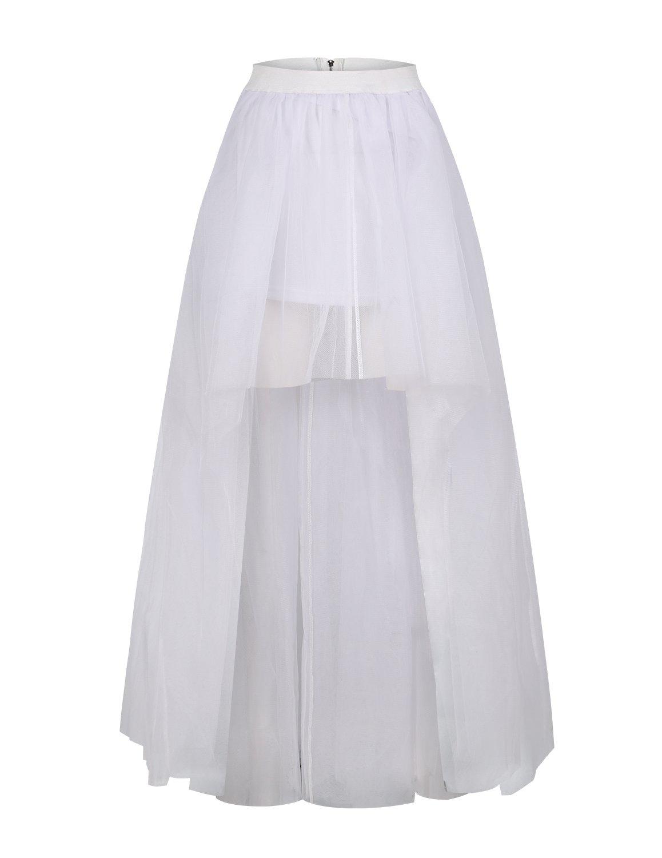 HaoDuoYi Womens Mesh Tulle High Low Tutu High Waist Wedding Skirt(XXL,White)