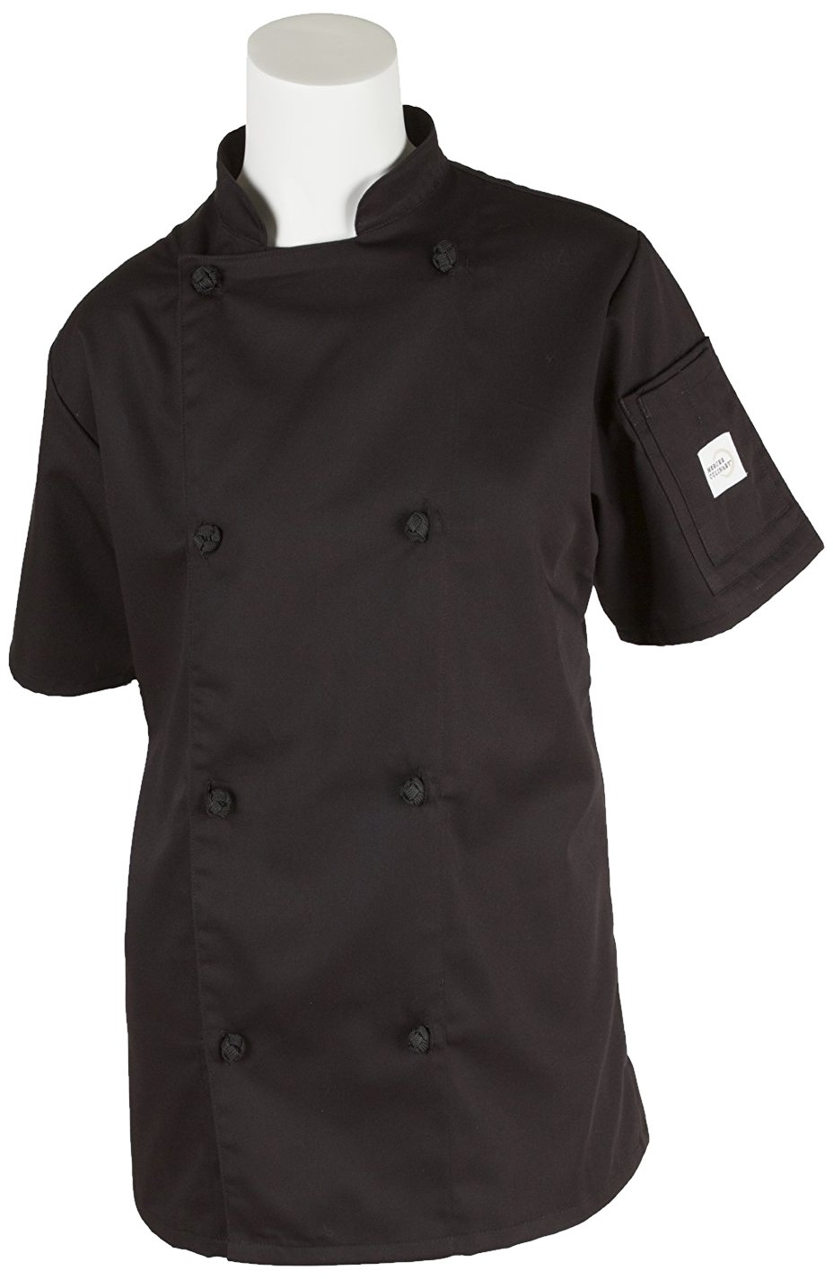 Mercer Culinary M61042BKL Genesis Women's Short Sleeve Chef Jacket with Cloth Knot Buttons, Large, Black