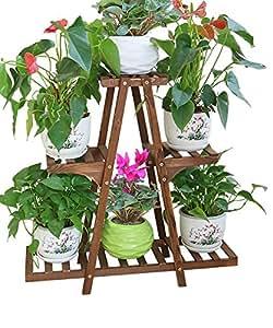 LLDHUAJIA LIANGLIANG Madera Maciza 3 - Planta del Piso Planta Soporte de Flores Estantería de Flores para el balcón Sala de Estar de Interior (Tamaño : A)
