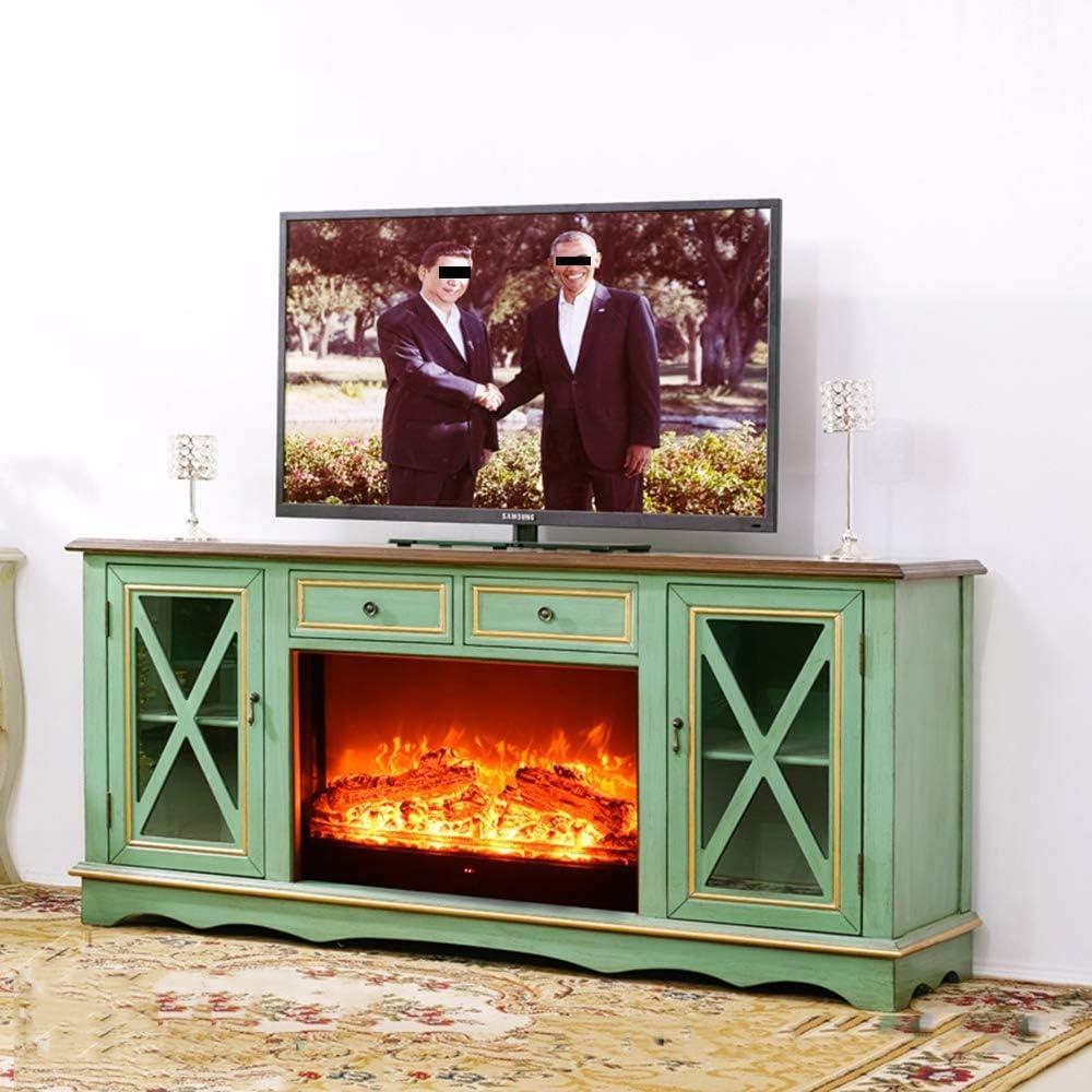 HWLG Soportes de TV para Chimenea, Moderno 3D Electric Fire Realistic LED Flame Effect Fireplace 750 / 1500W 7 Day 24hr Timer y Control Remoto Mueble de TV de Madera con núcleo