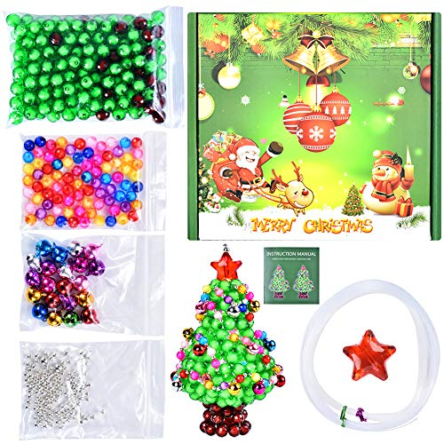 Christmas Crafts for Kids - DIY 3D Christmas Tree Making Supply Kit, Create Your Own Beads Christmas Tree - Develops Creativity Imagination & Motor Skills, DIY Craft Supply Xmas Gifts for Kids Adults (Motors For Crafts)