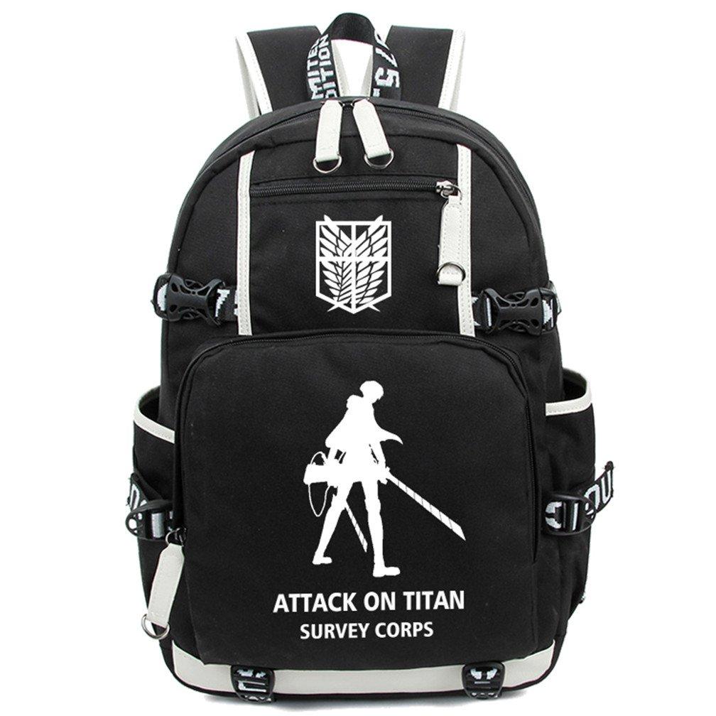 YOYOSHome Anime Attack on Titan Cosplay Luminous Bookbag College Bag Backpack School Bag (Black 2)
