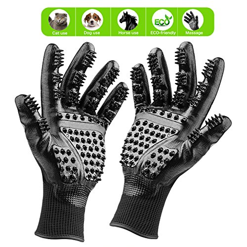 Pet Grooming Glove: Cat, Horse & Dog Deshedding Gloves Soft Rounded Nubs & Adjustable Wrist Strap  Pair Flexible Brush Mitts Shedding, Bathing, Massaging & Hair Removal (Black)
