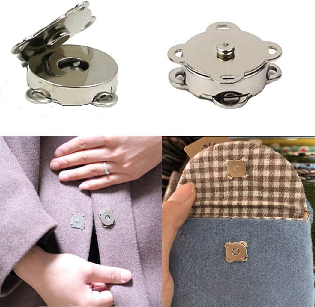 Snaps WAFJMAF 10 Sets Sew in Magnetic Plum Blossom Bag Button 14mm, Silver Clasps Great for Purses Bags Clothes