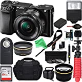 Sony Alpha a6000 24.3MP Wi-Fi Mirrorless Digital Camera + 16-50mm Lens Kit (Black) + 64GB + DSLR Bag + Extra Battery + Wide Angle Lens + 2x Telephoto Lens + Flash + Remote + Tripod + DigitalAndMore