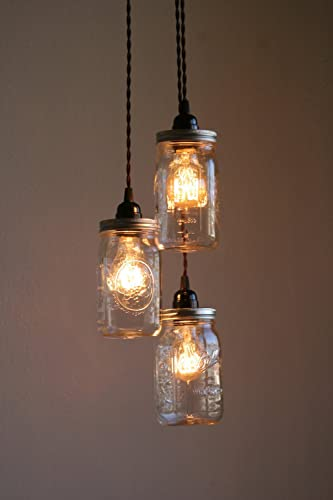 Bon 3 Ball Brand Quart Size Wide Mouth Mason Jar Pendant Light
