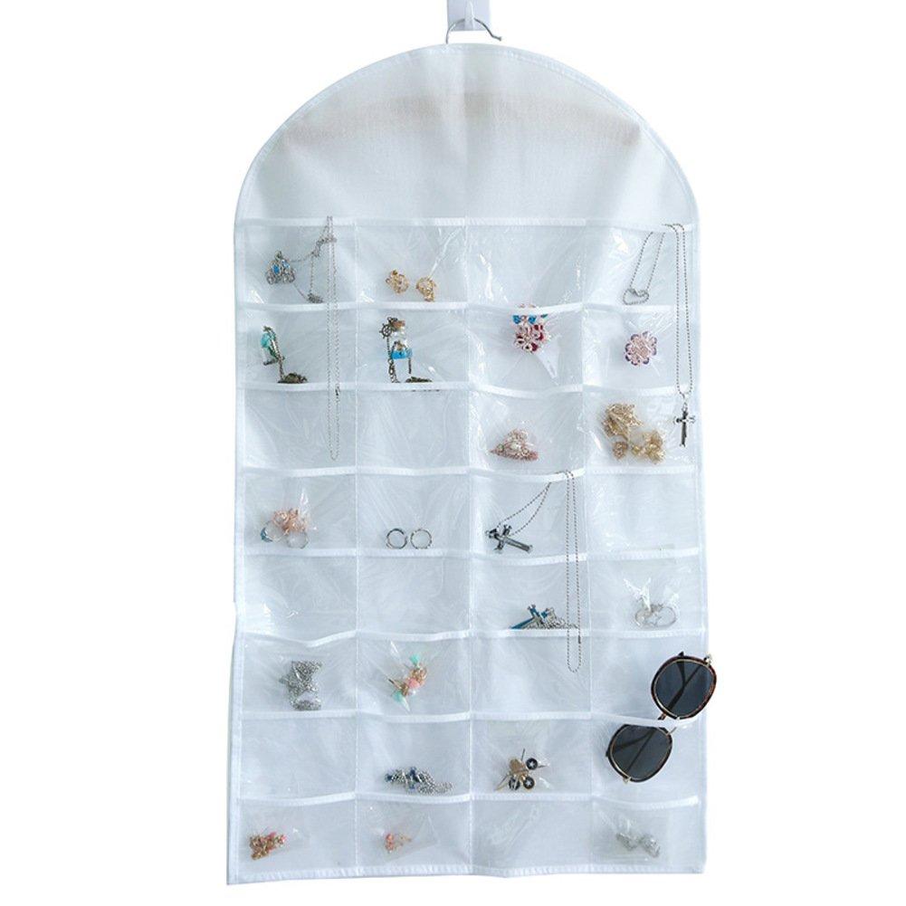 Nclon Bolso colgante de joyas No tejido Montado en la pared Delgado Diseño de doble cara Anillo de Pendiente de la Joyas Organizador de la joyería-B 46*81*1.5cm