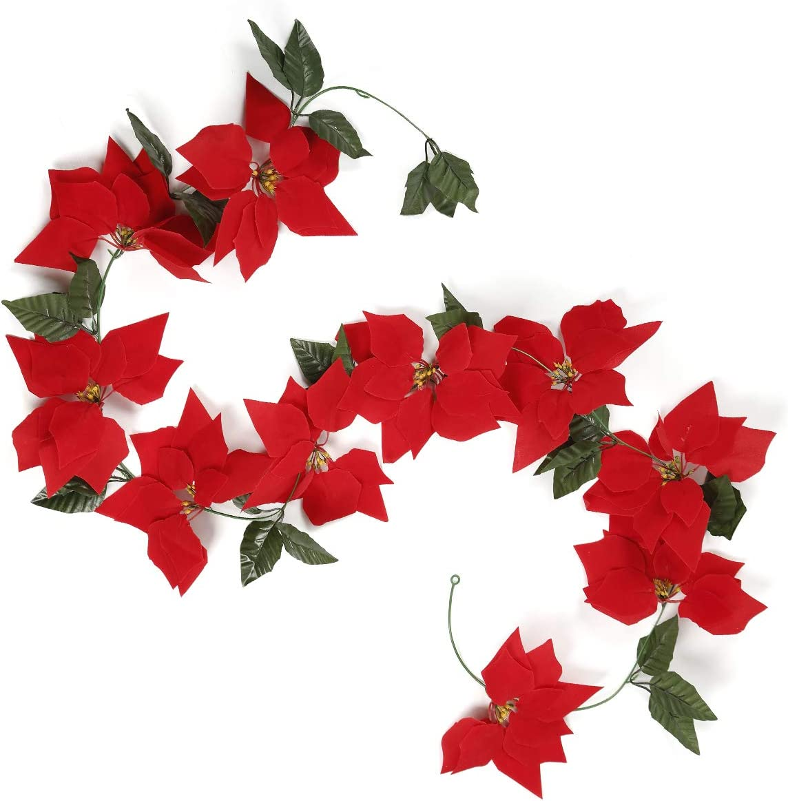 JUISEE Artificial Flowers Christmas Garlands Poinsettia Garland 6.6ft Garland Christmas Rattan Decoration Party Favors Home Décor with Holly Leaves (Red, 6.6ft) (Red, 6.6ft)