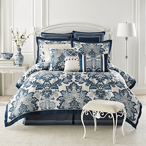 Croscill Diana 4 Piece King Comforter Set - Blue Floral Jacquard Croscill White Sham