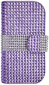 Reiko Bling Wallet Luxury Diamond Magnetic Flip Case with Credit/ID Card Slots for Samsung Galaxy Light T399 -  Retail Packaging  -  Purple
