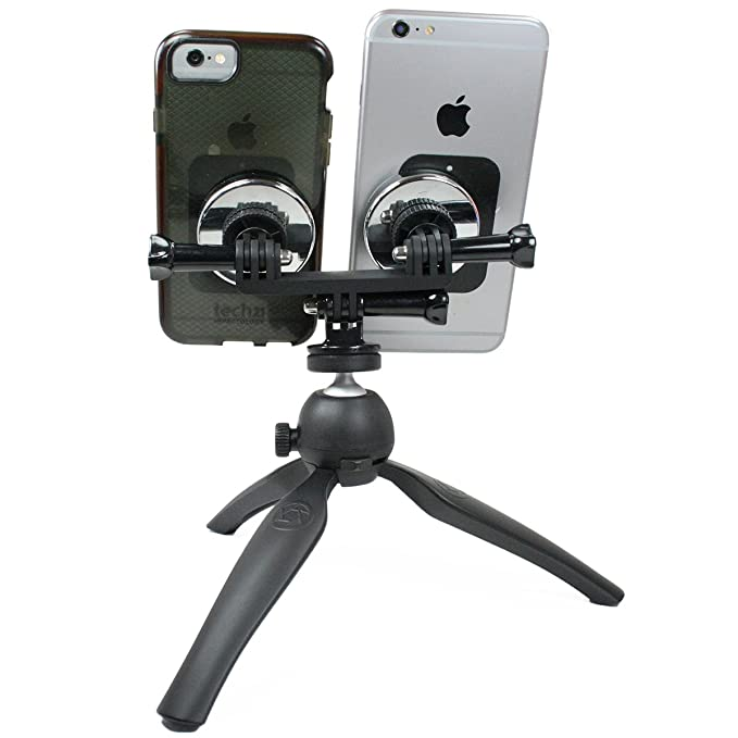 7c13d1bc6 Livestream Gear - Dual Device Magnetic Mount and Heavy Duty Tripod. Mount  Two Phones at