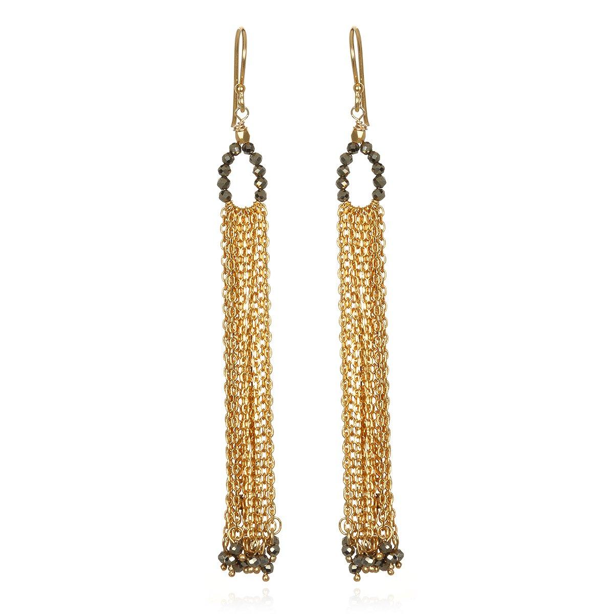 Satya Jewelry Pyrite Gold Plate Chain Tassel Drop Earrings