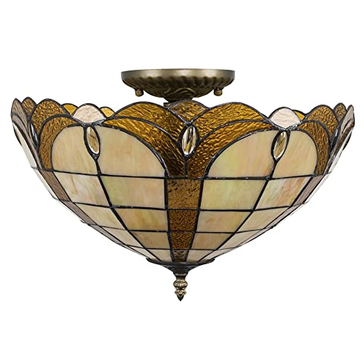 ee8a38db9 Tiffany Style Amber Jewelled Glass Uplighter Design Semi Flush Ceiling Light
