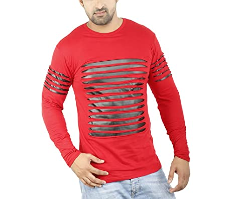 6419f5d69bb Perfect Creations Men s Cotton And Leather Full Sleeve Red Color Round Neck  T-Shirt (