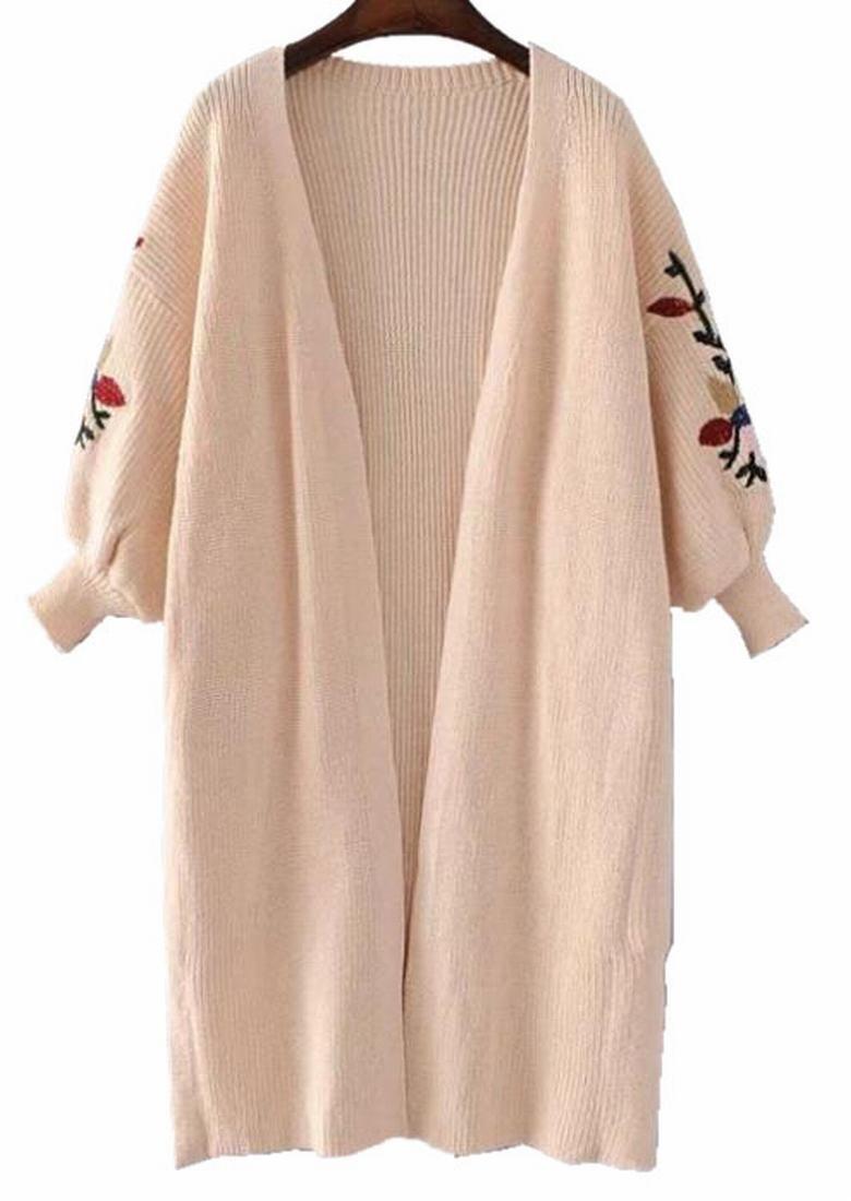 Generic Women's Winter Lantern Sleeve Knit Cardigans Korean Style Cardigan Pink OS